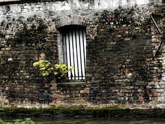In Bruges: Window on the Water (Diamond Geyser) Tags: brick stone wall brugge bruges