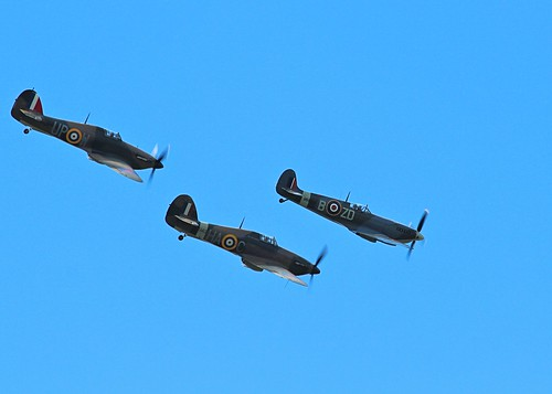 Supermarine Spitfire leading two Hawker Hurricanes