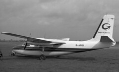 Aero Commander 500A G-ASIO, Gregory Air Services, Southend, UK, 12 Apr 1965 (goring1941) Tags: airplane aircraft gregory southend commander aero twinengine airtaxi southendairport aerocommander executiveaircraft egmc gasio gregoryairservices