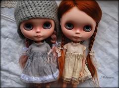 Safe travels, sweet girls  (Melacacia ) Tags: pink girls home doll dolls sweet may mohair pip carrot mae blythe traveling custom darling reroot 2013 melacacia