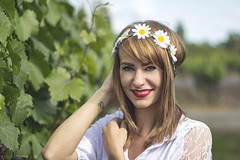 Jesika (Eric Molyneaux) Tags: flowers portrait cute nature girl tattoo hair naturallight tattoos portraiture blonde brunette headband