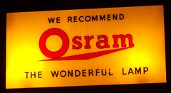 Osram  illuminated  window sign. Eastbourne 19/05/13. (Ledlon89) Tags: sign museum lights sussex eastbourne bulbs oldsign vintagesigns osramlamps