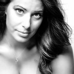 ms. hayes..... (soul pixie) Tags: portrait blackandwhite woman beautiful face closeup canon friend longhair stylist alienbees inyoface silverefx kearstenleder