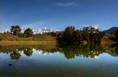 morning at Deoriyatal (CoSurvivor) Tags: india mountain lake reflection peak himalaya garhwal kedarnath waterbody uttarakhand chopta cosurvivor chaukhamba kedardome deoriyatal sarivillage