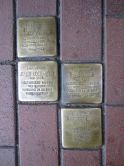 4 Loeb family members remembered (Abby flat-coat) Tags: holland bike leiden holocaust memorial barge gunther stolperstein 2013 img3243 bikebarge demmig elph300hs