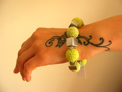 Handemde Bracelet (FallingDew) Tags: handmade gemstones crochetbeads textilejewellery