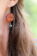 Head West Earrings (blue mountain thyme) Tags: leather bead handcrafted earrings dangle sterlingsilver bluemountainthyme