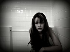 Sorrow 089-edit (Madison Kali) Tags: portrait blackandwhite girl self dark shower sadness sorrow