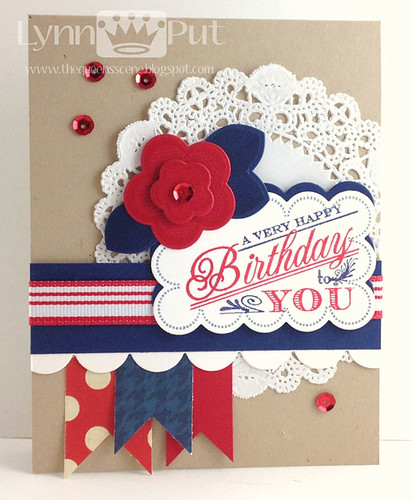 Red White & Blue Ruby-Rose Birthday Card