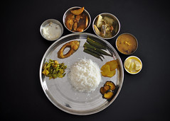 Bangla Cuisine (Bhaskar Dutta) Tags: india west dinner lunch cuisine dish rice traditional special bengal authentic bangla bhat daal bengali bhaja khabar mangsho alubhaja machh gettyimagesmiddleeast gimejul2013