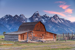 Another day in paradise (Larry Golden Photography) Tags: park trip sky mountains grass clouds barn sunrise wyoming grandtetons moulton larrygoldenphotography