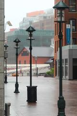 IMG_2403 (kz1000ps) Tags: light rain boston misty fog museum architecture downtown cityscape district massachusetts potd rainy fortpoint poles lamps financial teaparty atlanticwharf