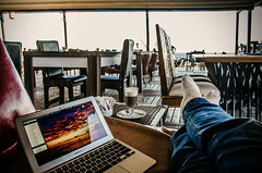Waiting patiently (Melissa Maples) Tags: sea food woman selfportrait feet me apple water coffee turkey computer restaurant nikon asia mediterranean order drink trkiye melissa bistro antalya nikkor latte maples vr afs  18200mm  f3556g  18200mmf3556g macbookair d5100