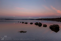 Milarrochy Bay (GenerationX) Tags: pink blue moon mountains water sunrise reflections landscape dawn mirror bay scotland still rocks unitedkingdom dusk scottish neil calm moonlight trossachs lochlomond barr luss inchlonaig millarochy beinnime