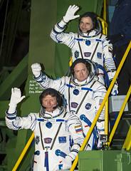 Boarding the Soyuz Spacecraft on Launch Day (timothytbrock) Tags: t space nasa brock timothy kazakhstan cosmos kaz baikonur markkelly baikonurcosmodrome gennadypadalka soyuzrocket russiansokolsuit mikhailkornienko expedition43 russianfederalspaceagencyroscosmos expedition43preflight oneyearmission