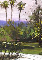 Pasadena Museum (Sherry Schmidt) Tags: california city mountains art museum watercolor painting palms watercolour pasadena gouache pleinair