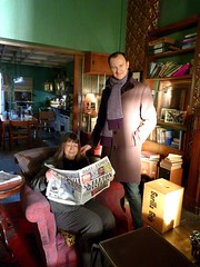 Mark Gatiss & Jean Upton on the Sherlock studio set, 21 March 2013