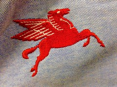 Mobil Gas Station Shirt, Flying Horse Logo, Vintage, 2/2015, by Mike Mozart of TheToyChannel and JeepersMedia on YouTube #Mobil (JeepersMedia) Tags: mobil