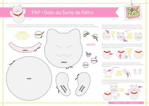 Gato da Sorte de Feltro (PAP com molde)
