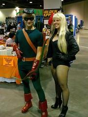 Green Arrow & Black Canary Cosplay (Trinity All-Stars) Tags: black green beach costume long comic cosplay arrow canary con 2010 lbcc lbcc2010