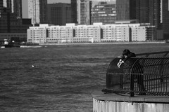 Melancholia (be.aboul) Tags: newyork monochrome sadness noiretblanc melancholy schoolboy mlancolie colier