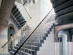 The stairs in Escher's old school inspired many of his works. This large mural is at the Escher Museum in Den Haag (albatz) Tags: stairs escher school mural eschermuseum holland netherlands denhaag