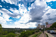 Wide (Daveography.ca) Tags: city blue sky cloud canada green skyline clouds spring edmonton cloudy hill wideangle alberta valley rivervalley northsaskatchewanrivervalley