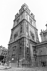 Tower - Cathedral of Murcia (archtkt) Tags: city travel urban bw espaa white black building tower tourism monochrome architecture facade religious spain worship europe view place angle traditional faith religion wide perspective landmark front architectural murcia destination spirituality es elevation feature regindemurcia archtkt
