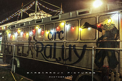 Fried Chicken & Gasoline (Barbarroja Pictures) Tags: barcelona city film colors night contrast canon movie fun lights spain shadows circus walk clown grain catalonia horror terror caravan van catalua 450d barbarroja