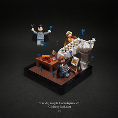 013 - Pixie Pandemonium (roΙΙi) Tags: harrypotter chamberofsecrets gilderoylockhart hermione neville defenceagainstthedarkarts pixies minifighands interior stairs table hogwarts rowling bricks magic vignette