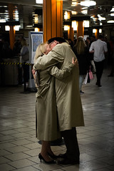 Picadilly Love (Bckpck Photography) Tags: uk people london hug kiss metro tube elderly casablanca