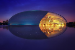 National Centre Of Performing Arts & Blue Hour (Lus Henrique Boucault) Tags: architecture asia beijing bluehour china chinese glass lights longexposure metal modern nationalcentreofperformingarts reflection sunrise sunset twinlight pequim beijingshi cn