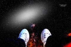 hanging  in space (mariola aga) Tags: art me stars shoes sitting space thoughts knowledge hanging universe guessing funshot thegalaxy hanginginspace
