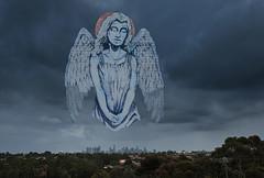 Melbourne's Angel (damdiv) Tags: street city winter sky streetart art angel clouds digital photoshop dark landscape nikon cityscape north melbourne ps d800