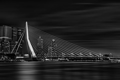 Erasmus Bridge at night (Daniel Schwabe) Tags: longexposure travel bridge bw netherlands architecture night river rotterdam geometry le suspensionbridge