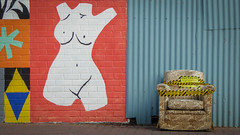 Art and Dump (Theen ...) Tags: 5000 adelaide armchair black corrugated council cyan damask dumping female footpath gold illegal illegaldumpsite illegallydumpedrubbish iron lumix mural notice pub red tape thebarton theen torso wall westtorrens wheatsheafhotel white yellow