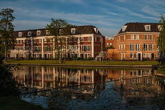 Evening reflections @ Woerden (PaulHoo) Tags: city urban holland color reflection building water netherlands architecture contrast mirror evening nikon woerden d700