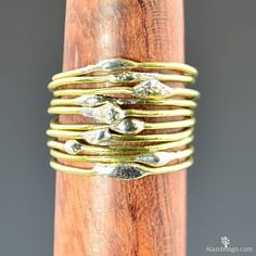 Unique Brass Stackin (alaridesign) Tags: unique brass stacking rings bimetal ring hippie boho for her dew drop thin bohemian by alaridesign