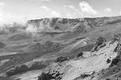 Cinder Cones - BW (rschnaible) Tags: park bw usa white black mountains landscape photography volcano hawaii us pacific outdoor sightseeing monotone maui national haleakala tropical volcanic tropics rugged cones cinder