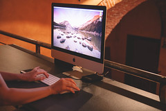 Working With iMac (SplitShire) Tags: desktop woman apple smart smiling modern digital pen work computer studio table design office mac imac technology hand graphic tech desk designer background creative young device professional equipment agency startup workspace workplace worker create visual job