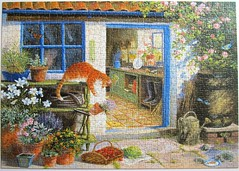 Garden Visitors (Bernard Willington) (Leonisha) Tags: flowers plants cat pflanzen blumen puzzle flowerpot hedgehog katze blumentopf jigsawpuzzle pottingshed igel gartenhaus