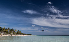Beach fly past. (CWhatPhotos) Tags: cwhatphotos mosquito spraying plane biplane old sky skies low flying blue sea cloud clouds cayo coco holiday time cuba cuban island hot olympus four hirds water june 2016 photographs photograph pics pictures pic image images foto fotos photography artistic that have which contain digital clear day sunny sun hols jardines del rey jardinesdelrey airport terminal spray