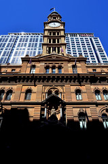 General Post Office (pedro smithson) Tags: travel light shadow sky sun tower clock stone architecture nikon postoffice sydney australia landmark lookup nsw westin harsh gpo oceania oceanica martinpl d5100 pedrosmithson