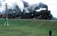 L-4600 + L3055  bei Mena  01.10.02 (w. + h. brutzer) Tags: analog train nikon eisenbahn railway zug trains steam l locomotive gus mena dampflok lokomotive eisenbahnen dampfloks webru