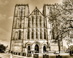 Ripon Cathedral West East Facade HDR (Jacek Wojnarowski Photography) Tags: old uk england people west history vertical architecture facade vintage spring europe cathedral outdoor candid yorkshire religion landmark spirituality hdr sepiatone blackandwhitephotography lowangle ripon gothicarchitecture religiousbuildings religioussymbol romanesquearchitecture 6x4 buildingexterior splittoning sepiaphoto englishgothicarchitecture anglosaxonarchitecture religiousequipment bulitstructure