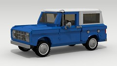 Ford Bronco (large scale) (LegoGuyTom) Tags: auto road old city blue classic ford scale digital america vintage lego offroad 4x4 pov designer large 4wd off american legos download bronco 1960s 1970s suv v8 dropbox povray roader offroader ldd lxf