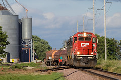 CP 6242 Claremont Set Out (rathman11) Tags: emd emdsd60 cp canadianpacific 6242 wasecasubdivision claremontmn elevator grainelevator