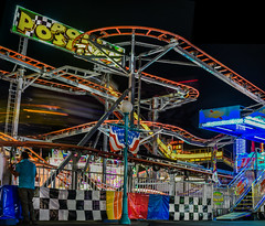 late night pole position (pbo31) Tags: 2016 alamedacounty eastbay bayarea fair nikon d810 pleasanton california color boury pbo31 june summer grounds ride spinning midway rides lightstream motion night dark black butler amusements panorama stitched panoramic large spin racecar nascar inspired rollercoaster sunoco