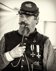 A bowl before battle (Ripley's fish planet) Tags: jessewillingham confederatecamp civilwarreenactment northwestcivilwarcouncil brooksoregon2016 beard 1860s civilwaruniform pipesmoking pipesmoker