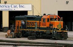 Progress on this SD9-3 (Jeff Carlson_82) Tags: railroad train mac railway mo kansascity missouri kc railfan bnsf rebuilt emd sd9 1552 burlingtonnorthernsantafe cbq midamericacar sd93